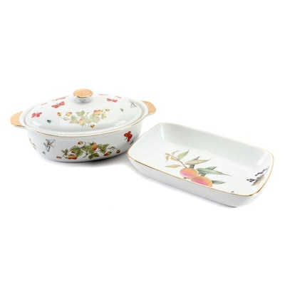 "Royal Worcester ""Evesham"" Porcelain Baking Dish with Other Lidded Casserole Dish"