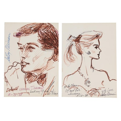 LeRoy Neiman Ink Portraits of Donald and Ivana Trump, 1988