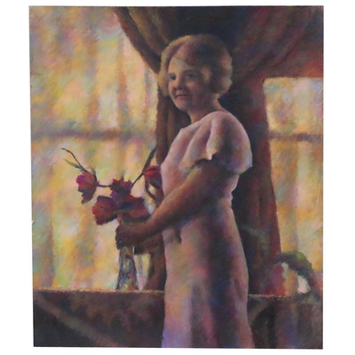 "Glenn S. Pearce Pastel Drawing ""Red Bouqet"", Mid 20th Century"