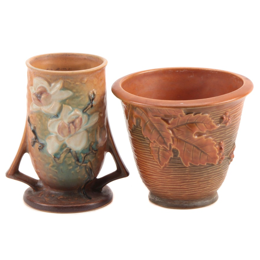 """Roseville Pottery """"Bushberry"""" Flower Pot and """"Magnolia"""" Vase, Mid-20th Century"""