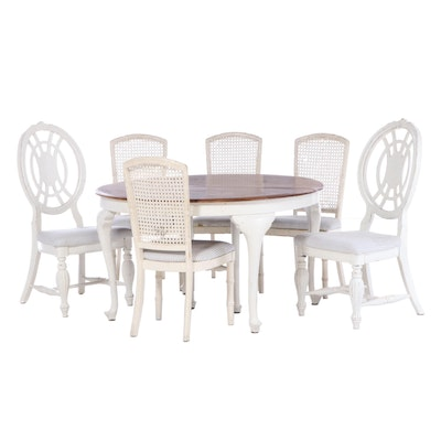 H.C. Niemann Oak Top Table and White-Painted Wood Side Chairs, Early 20th C.