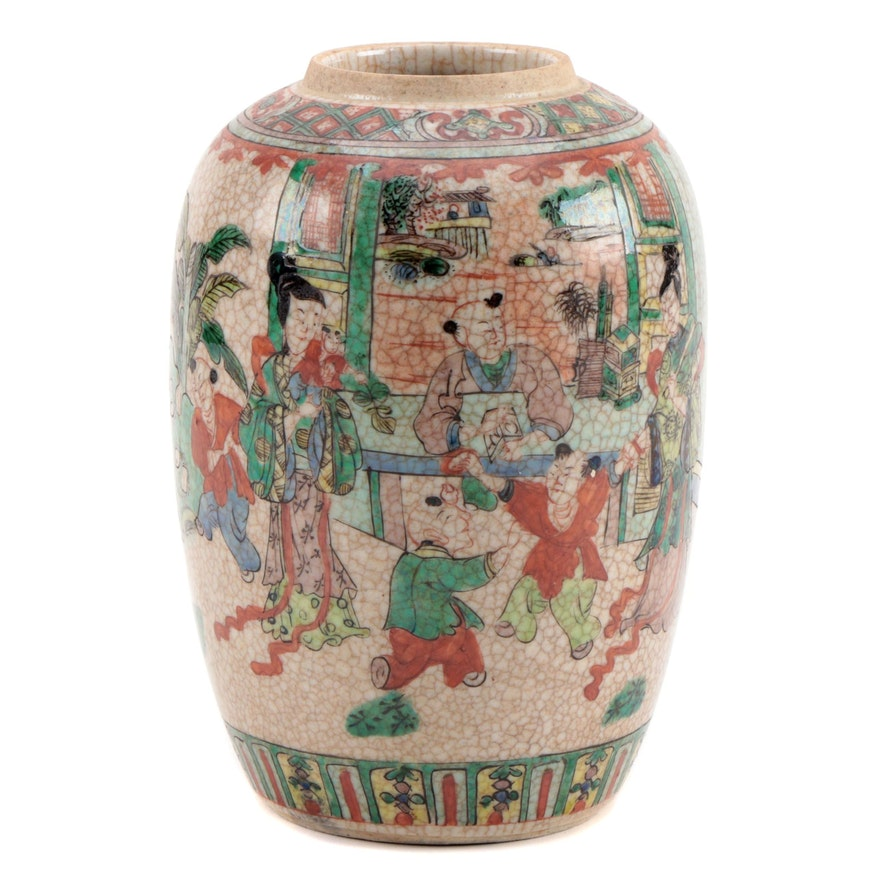 East Asian Crackle Glaze Ceramic Vase with Domestic Family Scene