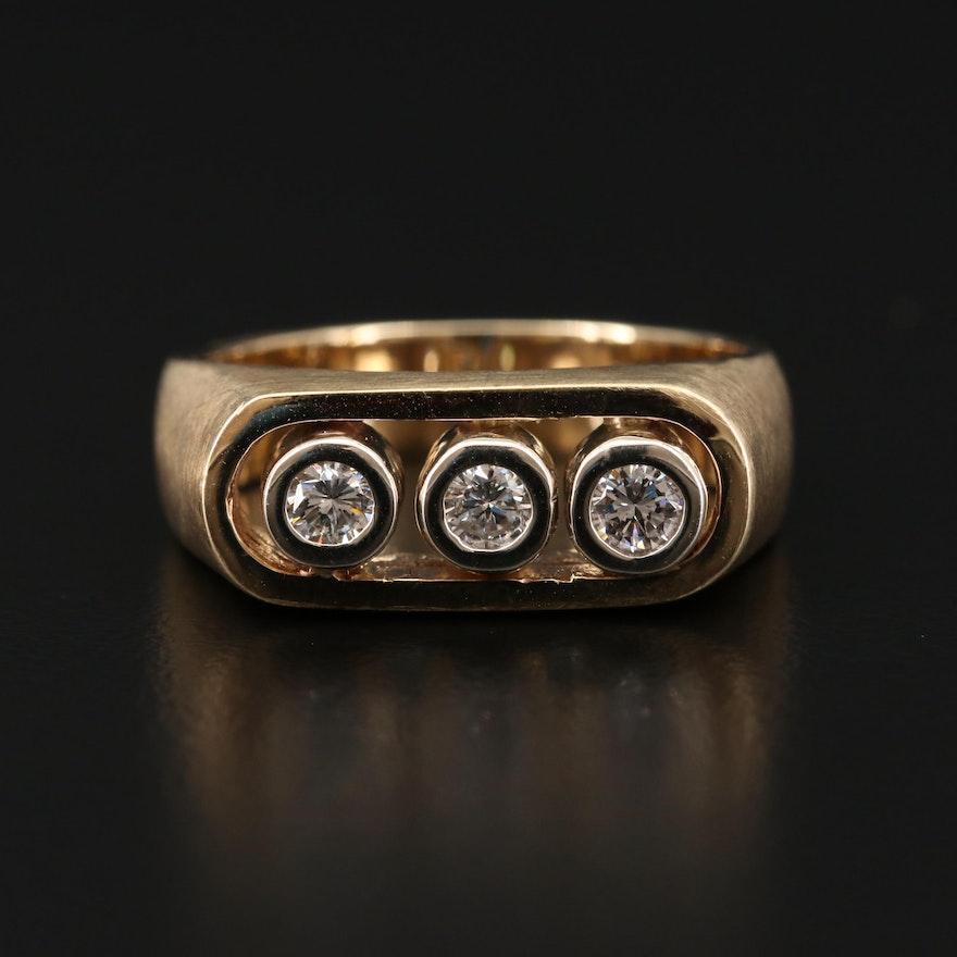 14K Gold Diamond Three Stone Ring with Brushed Finish