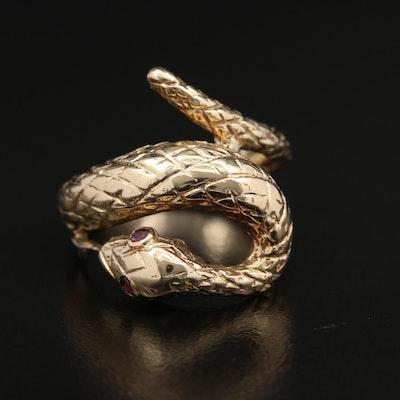 14K Yellow Gold Ruby Snake Ring