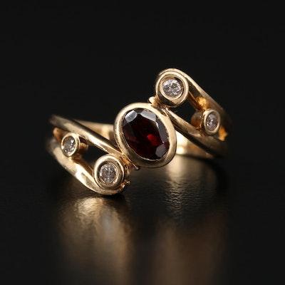 14K Gold Garnet and Diamond Bypass Ring