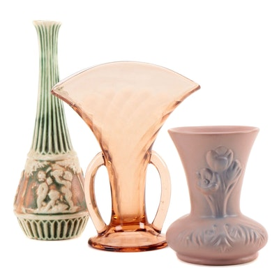 "Roseville ""Donatello"" Vase, Van Briggle Pottery Vase and Blown Glass Vases"