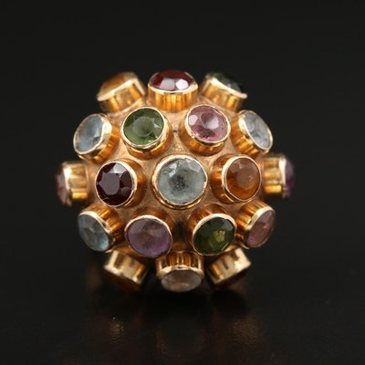 18K Gold Sputnik Ring with Amethyst, Garnet and Citrine