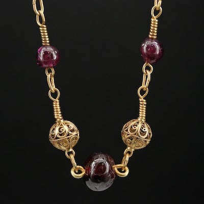 14K, 18K, 22K Rhodolite Garnet Beaded Necklace