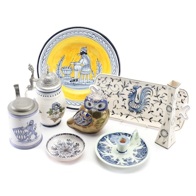 European Delftware Steins, Serving Plate, and Decor