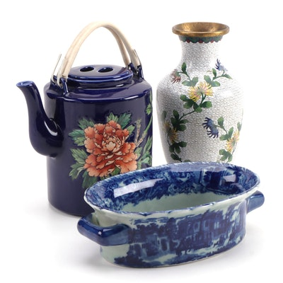 Victoria Ware Ironstone Footbath, Chinese Cloisonné Vase and Porcelain Teapot