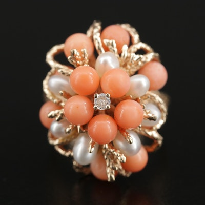 Vintage 14K Yellow Gold Diamond, Coral and Pearl Ring