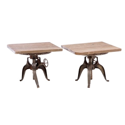 "Pair of Industrial Style Oak and Metal ""Crank"" Side Tables"