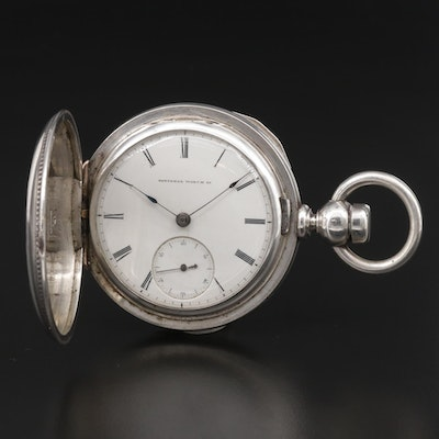 Elgin 900 Silver Key Set Hunting Case Pocket Watch, Antique