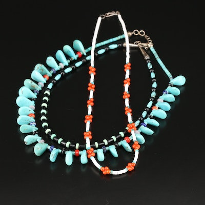 Southwestern Style  Sterling Turquoise, Coral and Black Onyx Beaded Necklaces
