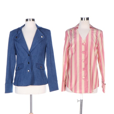 J. Peterman Almost Newtonian Cotton Blazer and Striped Taffeta Blouse