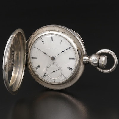 Waltham 900 Silver Key Set Hunting Case Pocket Watch, Antique