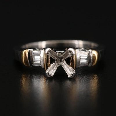 Platinum Diamond Semi-Mount Ring with 18K Accents