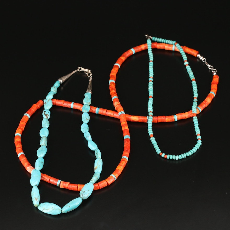 Southwestern Style Turquoise and Coral Beaded Necklaces with Sterling Findings