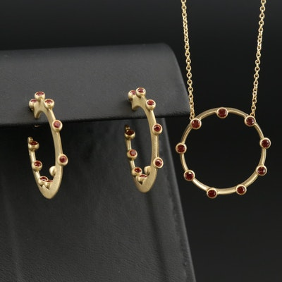 18K Gold Fancy Sapphire Necklace and Inside-Out J-Hoop Earring Set