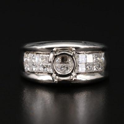 Platinum 1.05 CTW Diamond Semi-Mount Ring