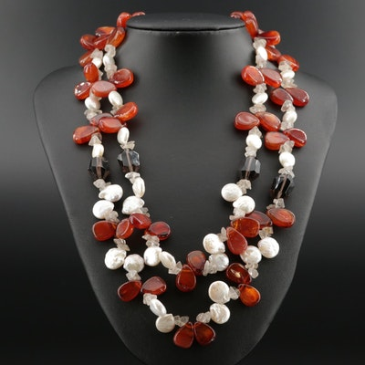 Sterling Silver Double Strand Necklace Featuring Agate and Cultured Pearl