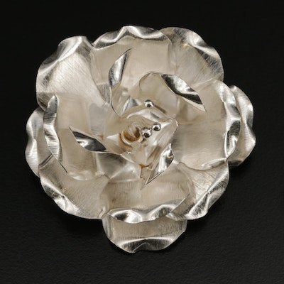 Mexican Sterling Silver Dimensional Flower Converter Brooch