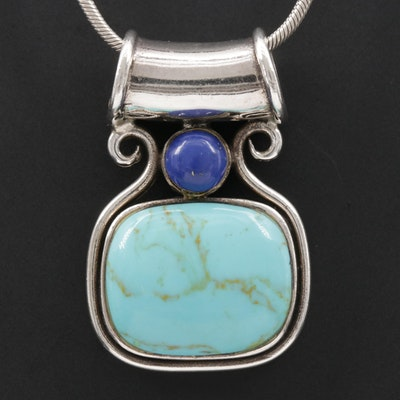 Sterling Silver Imitation Turquoise and Lapis Lazuli Pendant Necklace