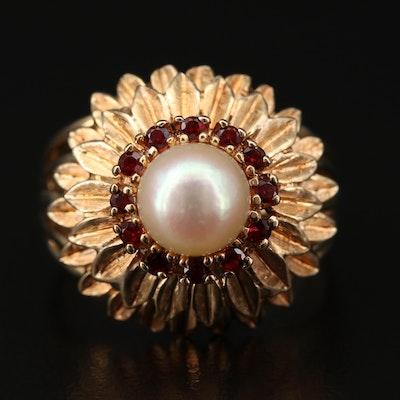Vintage Pearl and Garnet Tiered Flower Ring