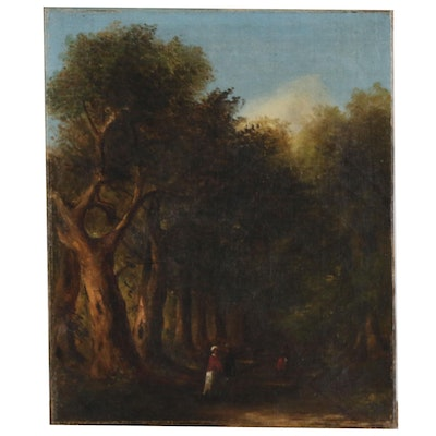 Figural Forest Landscape Oil Painting, 19th Century