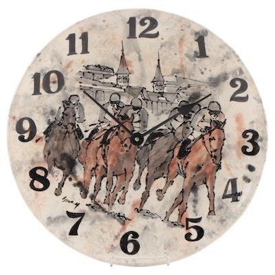 Susany Arts Kentucky Derby Ceramic Battery Operated Clock, 2014