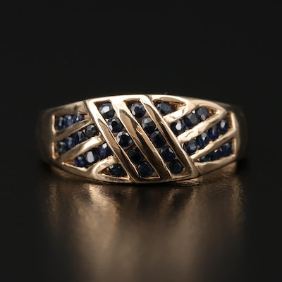 14K Gold Sapphire Channel Ring