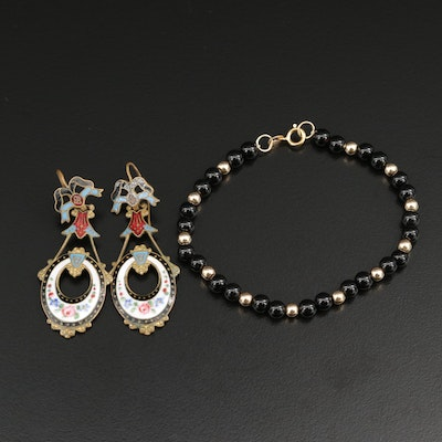Antique Enamel Drop Earrings With 14K Gold Black Onyx Bead Bracelet