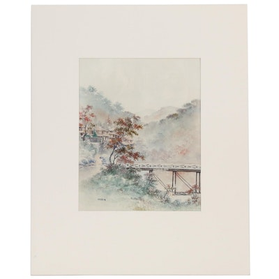 "Japanese Watercolor Painting ""Miyanoshita, Hakone"", Early to Mid 20th Century"