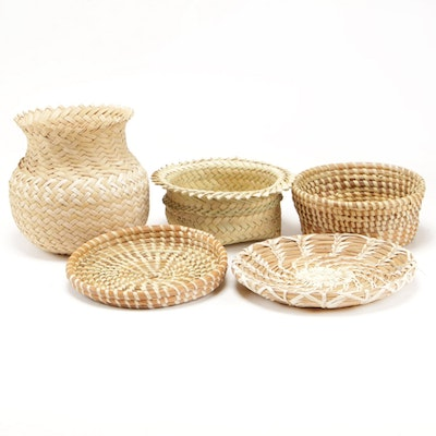 Hand Woven Pine Needle and Natural Fiber Baskets