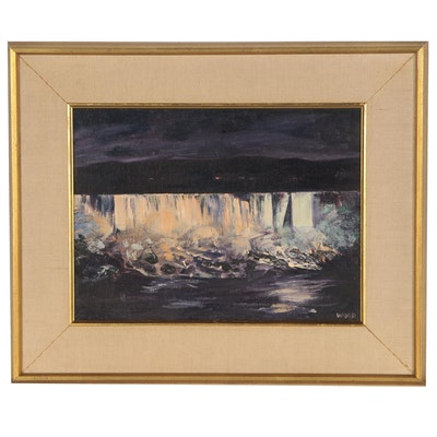 Abstract Landscape Oil Painting, Mid to Late 20th Century