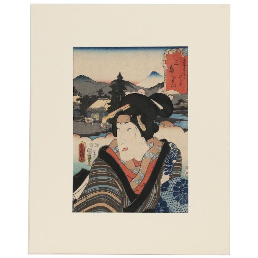 """Utagawa Kunisada Woodblock """"Mishima: Actor Segawa Kikunojô V as Osen"""", 1852"""