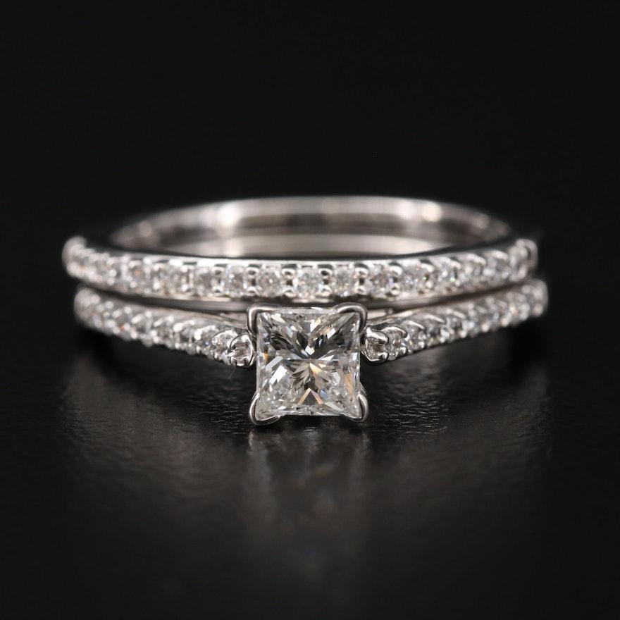 18K Gold Diamond Ring Set