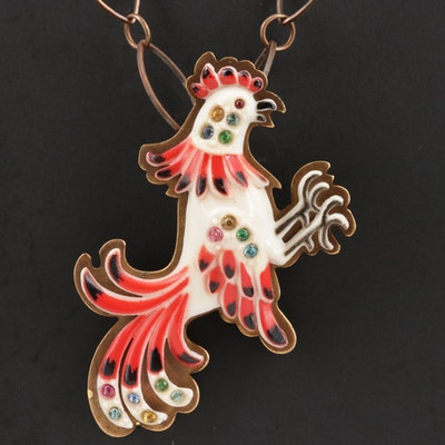 Rooster Brooch with Chain