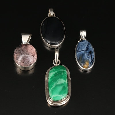 Sterling Silver Pendants Featuring Pietersite, Variscite, Quartz, and Black Onyx