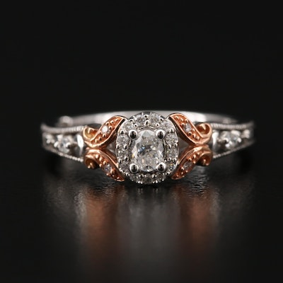 10K White Gold Diamond Ring with 14K Rose Gold Accents