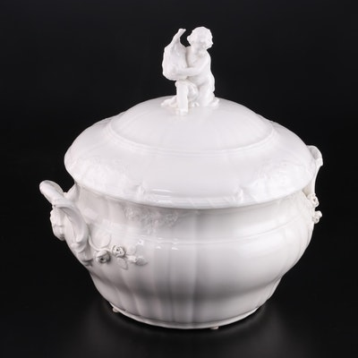 Berlin Porcelain Tureen with Putti Motif, Late 19th to Mid 20th Century