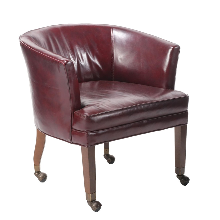 Mahogany Upholstered Leather Tub Chair on Casters, Mid-20th Century