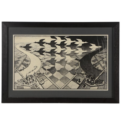 "Offset Lithograph after M.C. Escher ""Day and Night"""