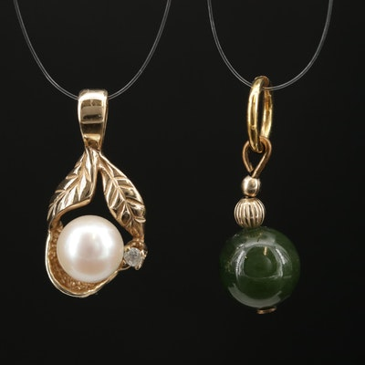 14K Yellow Gold Nephrite, Cultured Pearl, and Diamond Pendants