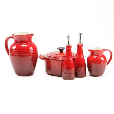 Le Creuset Cast Iron Dutch Oven, Pitchers and Oil and Vinegar Cruets