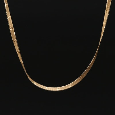 18K Gold Herringbone Chain Necklace with Diamond Cut Accents