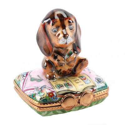 "La Gloriette Hand-Painted ""Puppy"" Porcelain Limoges Box"