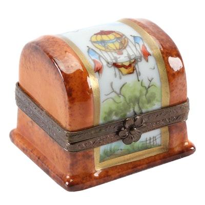 """Hand-Painted """"Bon Voyage"""" Porcelain Limoges Box"""