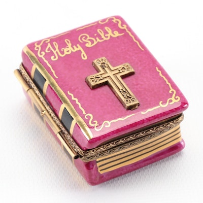 "Gerard Ribierre Hand-Painted ""Holy Bible"" Limoges Box"