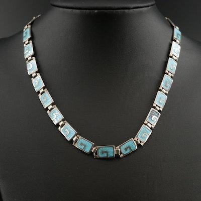 Vintage Margot de Taxco Sterling Enamel Link Necklace